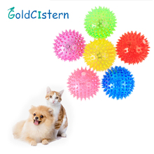 Для кошки или собаки скрипучий игрушки мягкие резиновые световой для домашних собак жевательный игрушка эластичный Ежик мяч игрушка Щенок
