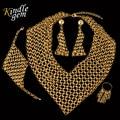 2017 De Alta Costura alta Moda Italia Anillo de Oro Verdadero Plateado Pendientes Collar Pulsera Establece Grande Nupcial Wdding Joyería Del Partido Set