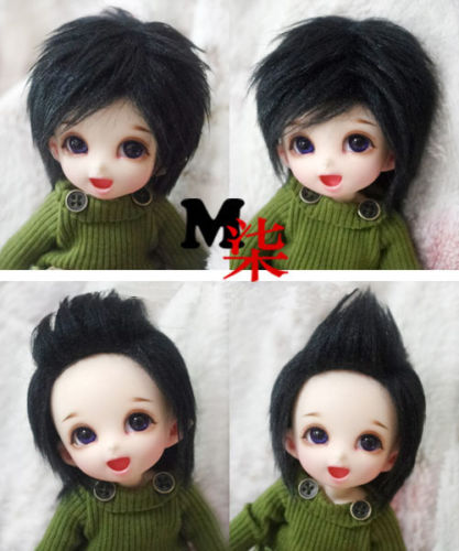 New 1/12 3-4 inch 9-10cm 1/8 4-5 inch 12cm 14cm BJD  fabric fur wig black Fur Wig For AE PukiFee lati Antiskid BJD Doll Wig uncle 1 3 1 4 1 6 doll accessories for bjd sd bjd eyelashes for doll 1 pair tx 03