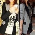 Nova moda Slim mulheres Casual cor contraste OL negócios Mid longo Blazer terno