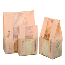 20 Pcs Bread Bag With Window Kraft Bag Paper Food Packaging White Baking Toast Bakery Bread Bags Sticker DIY Baking 31x21x9cm 100 pcs bread bag 57x10x4cm kraft paper food packaging bakery baking baguette paper bread bags with window customized supplier
