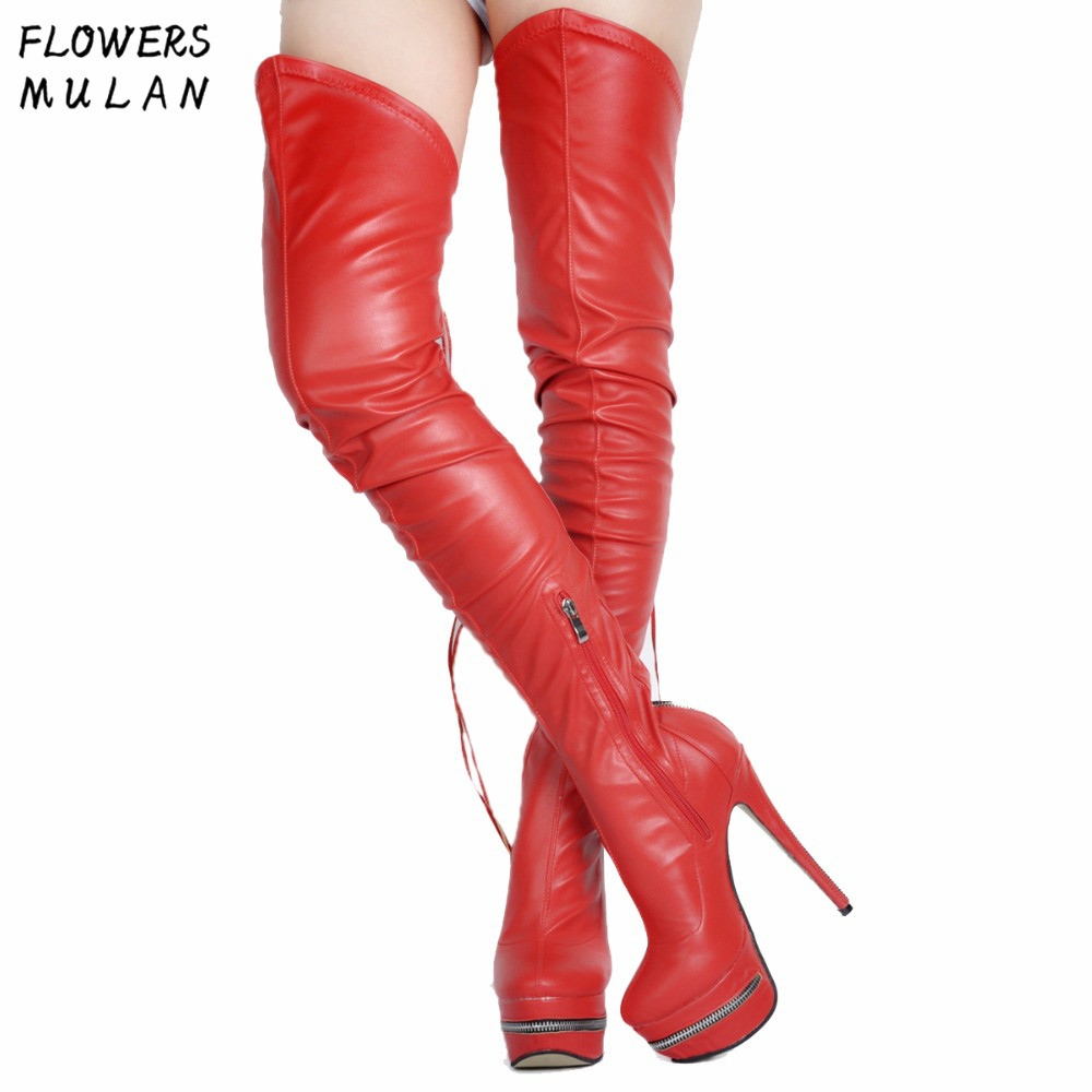 Big Size 34-42 European Style Long Boots Women Genuine Leather Platform Sexy Shoes Lady Over The Knee Thin Heels Gladiators Girl nasipal 2017 new women pu sexy fashion over the knee boots sexy thin high heel boots platform woman shoes big size 34 43 g804