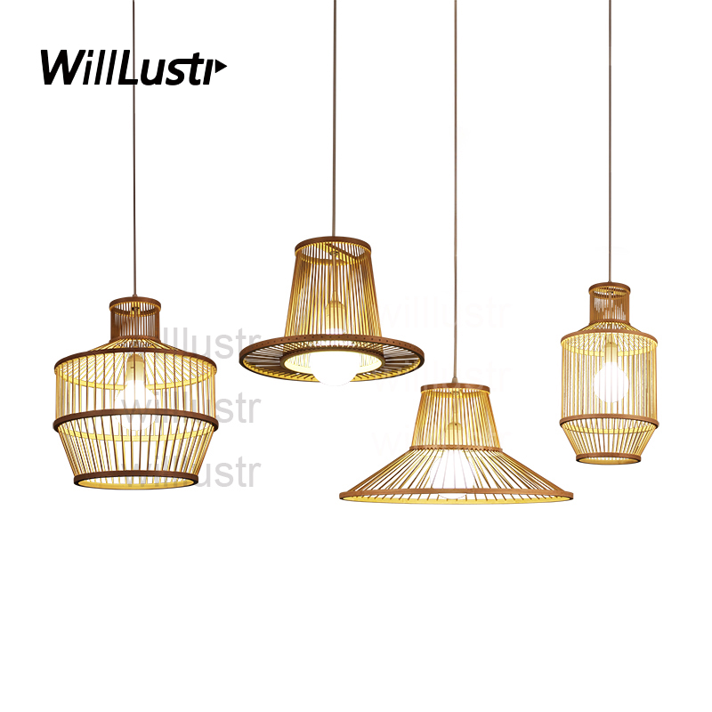 willlustr modern bamboo pendant lamp wood suspension light handmade lighting natural hanging light hotel restaurant bar lounge