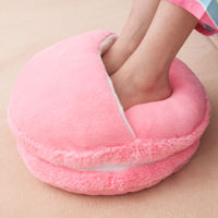Macaron Plush Foot Warmer Shoes Slipper Hand Warmer Keep Hand or Food warm Soft and plush material Creative Pink Blue