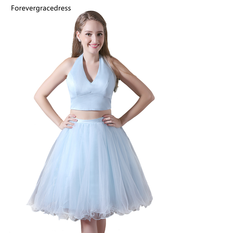 Forevergracedress Real Photos Two Pieces Tulle Cocktail Dress Sexy Sky Blue Halter Short Homecoming Party Gown Plus Size