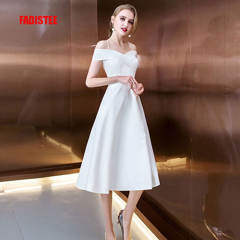 Latest Collection Of Fadistee Cocktail Dresses Sleeves Hot Selling Slim Boat Neck Short Style Dresses Women Little White Dresses Stretch Satin Zipper High Quality Materials Cocktail Dresses