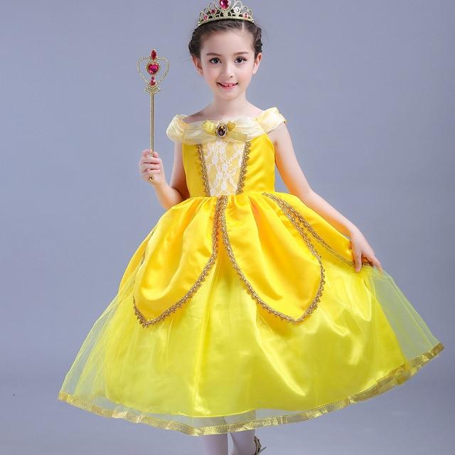 Girls Princess Belle Dress up Costume Kids Sleeveless Yellow Party Dress  Children Girl Carnival Easter Birthday Ball Gown 2560c25da224