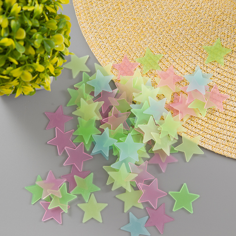 Fluorescent stars stickers new decoration 3cm luminous stereo wall