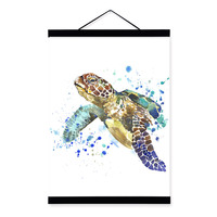 Sea Turtle Watercolor Fashion Animal Portrait Wood Framed Canvas Painting Wall Art Print Picture Poster Children