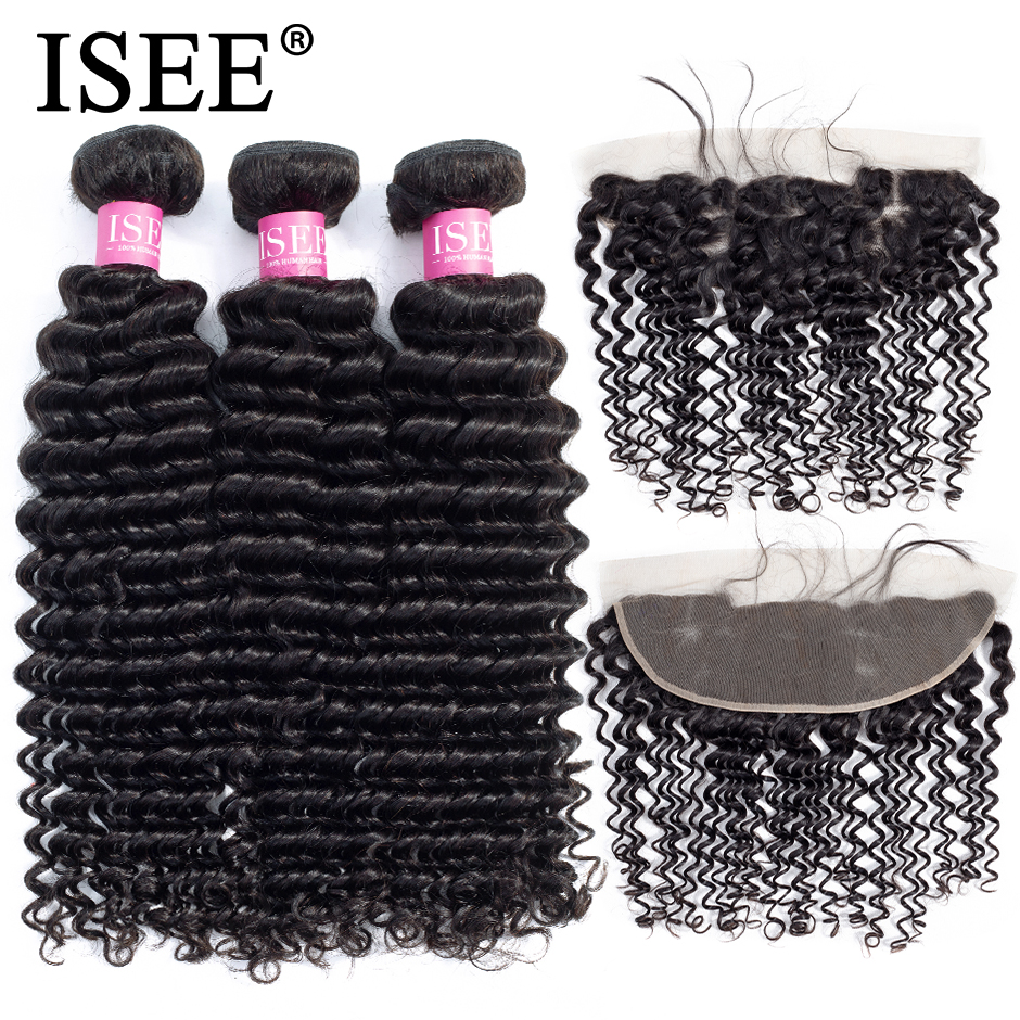 ISEE HAIR Deep Wave Bundles With Frontal Remy Human Hair Bundles With Frontal 13 4 Pre