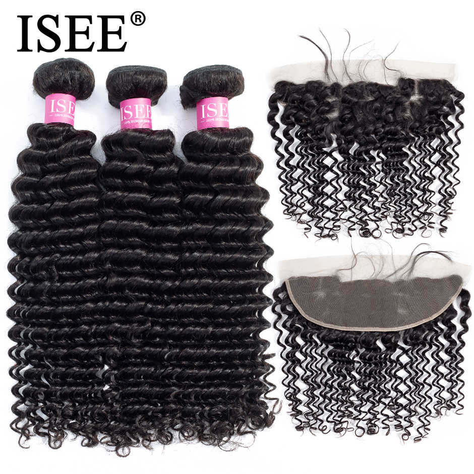ISEE HAIR Deep Wave Bundles With Frontal Remy Human Hair Bundles With Frontal 13*4 Pre Plucked Brazilian Hair Weave Bundles