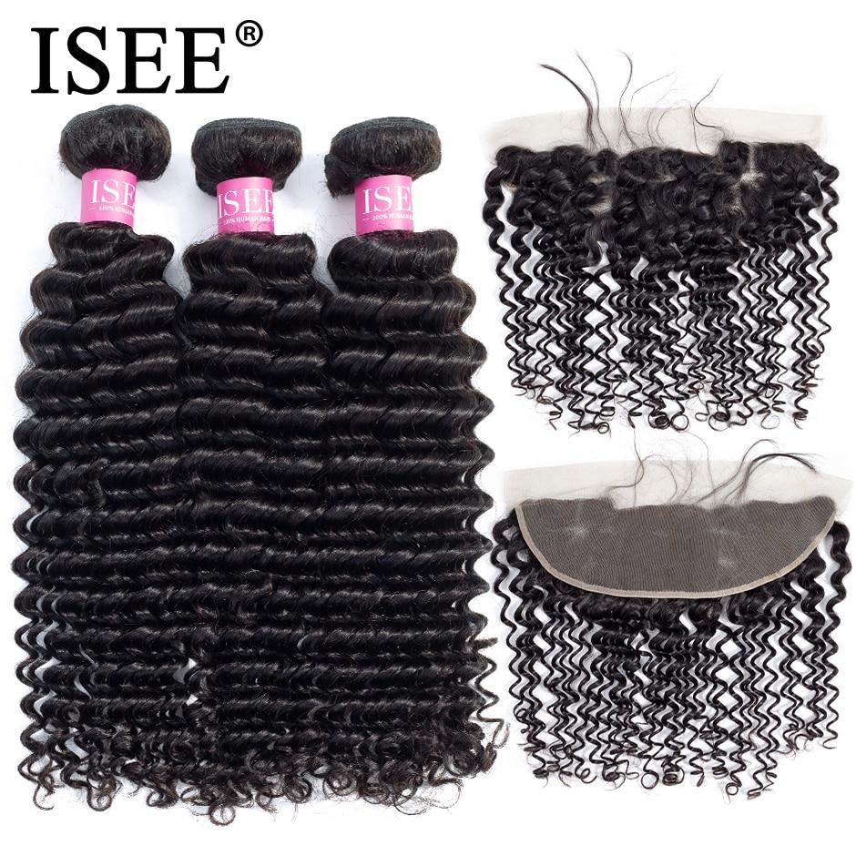 Tissage en lot brésilien Remy avec Frontal-ISEE HAIR | Cheveux naturels, Deep Wave, 13x4, pre-plucked