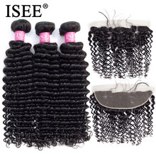 ISEE HAIR Deep Wave Bundles With Frontal Remy Human Hair Bundles With Frontal 13*4 Pre Plucked Brazilian Hair Weave Bundles(China)