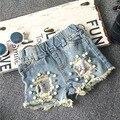 Atacado ( 5 pçs/lote ) - 2016 verão buraco shorts jeans para criança