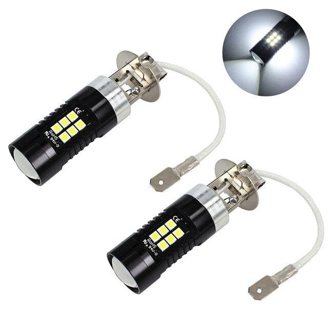 مصابيح كهربائية للسيارات 2 قطعة LED أضواء الضباب لسيارة 12 فولت تيار مستمر H3 3030 21 LED أضواء الأبيض 6500K سيارة الضباب رئيس ضوء مصباح المصباح