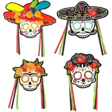Day of the Dead Skull Elastic Mask Hanging Swirl Glitter Decorations Mexican Fiesta  Party Halloween Kids Adult Toys New