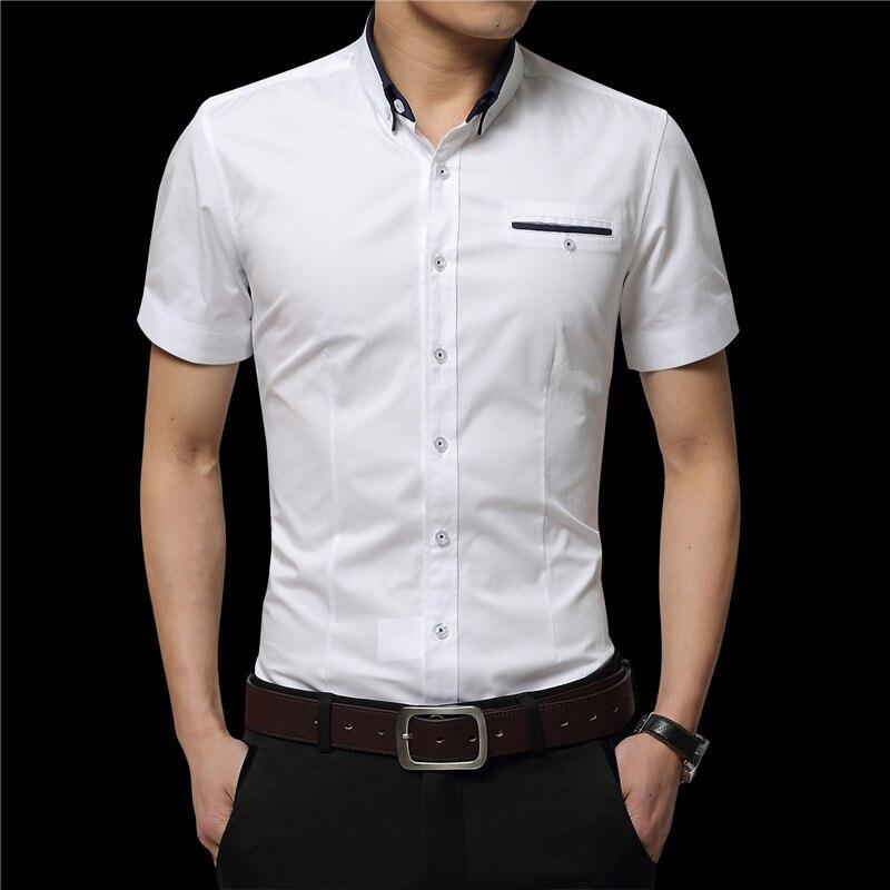 2019 sommer Männer Kurze Hemden Casual Shirts Hemden Feste Hemden - Herrenbekleidung - Foto 4