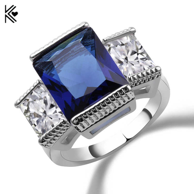 Fashion Blue Square Zircon Stone Rings For Female Male White Gold Filled Wedding Party Halloween Finger Ring Valentine's Day