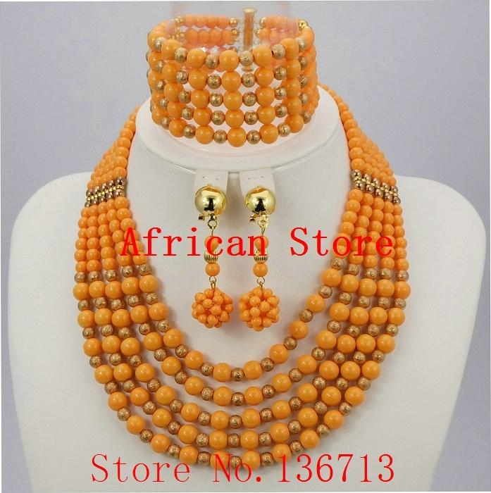 2016 New Beads Balls Necklace Nigerian Wedding Bridal Jewelry Set ...