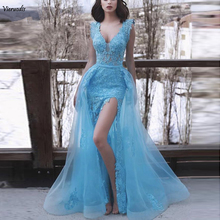 купить Blue 2019 Prom Dresses Mermaid V-neck Cap Sleeves Tulle Lace Slit Sexy Party Long Prom Gown Evening Dresses Robe De Soiree по цене 9444.02 рублей