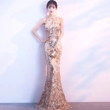 D051 rose gold sequined halter neck hollow out keyhole floor length mermaid dress