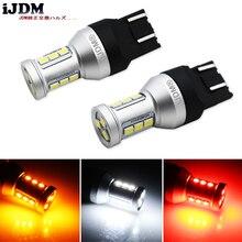 IJDM 7443 LED נורות T20 W21W W21/5 W led סופר בהיר 12V רכב DRL איתות חניית בלם הפוך אור, צהוב לבן