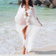 Jeebel blanco de gasa cubierta de playa vestido de encaje túnica Pareos traje de baño de mujer 2018 bata de gasa