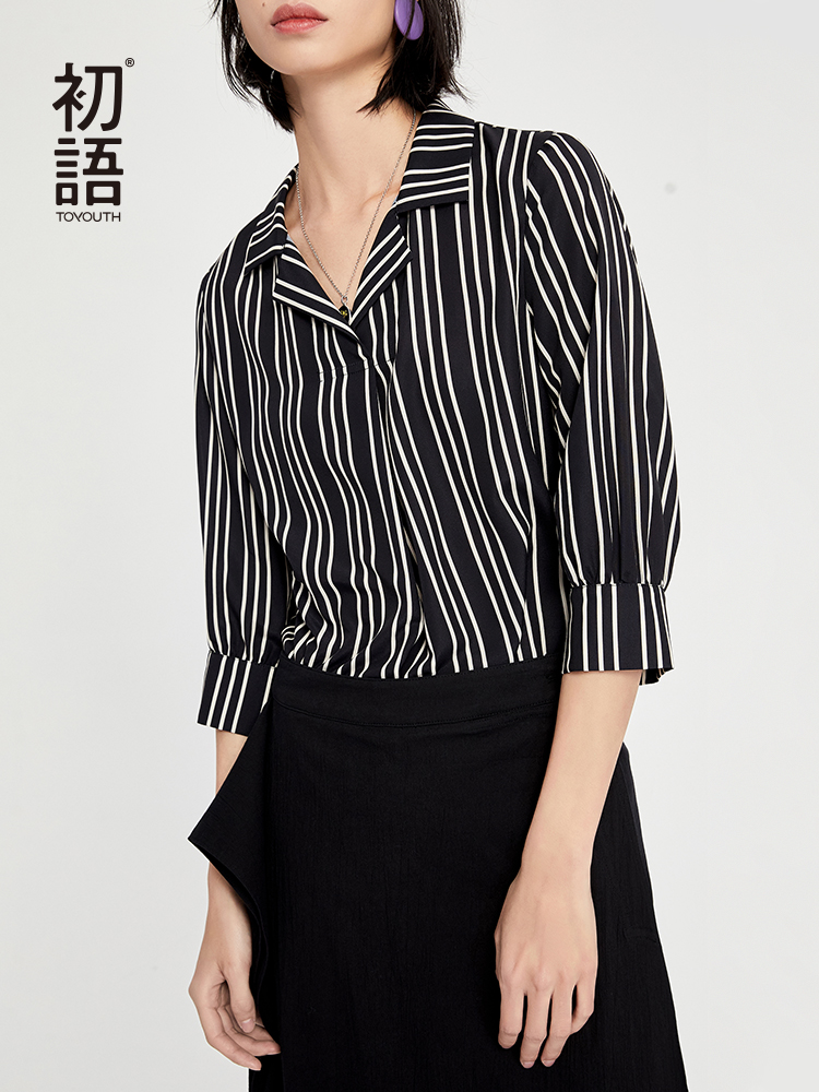 Toyouth Striped Blusas Mujer De Moda 2019 V Neck Three Quarter Sleeve Workwear Chiffon Blouse Lace Blouse Blusas Femininas