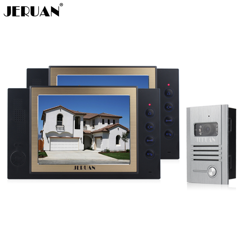 JERUAN 8 inch screen video door phone  video recoreding and taking photo 1 Camera 2 monitors system High-grade metal panel jeruan 8 inch video door phone high definition mini camera metal panel with video recording and photo storage function