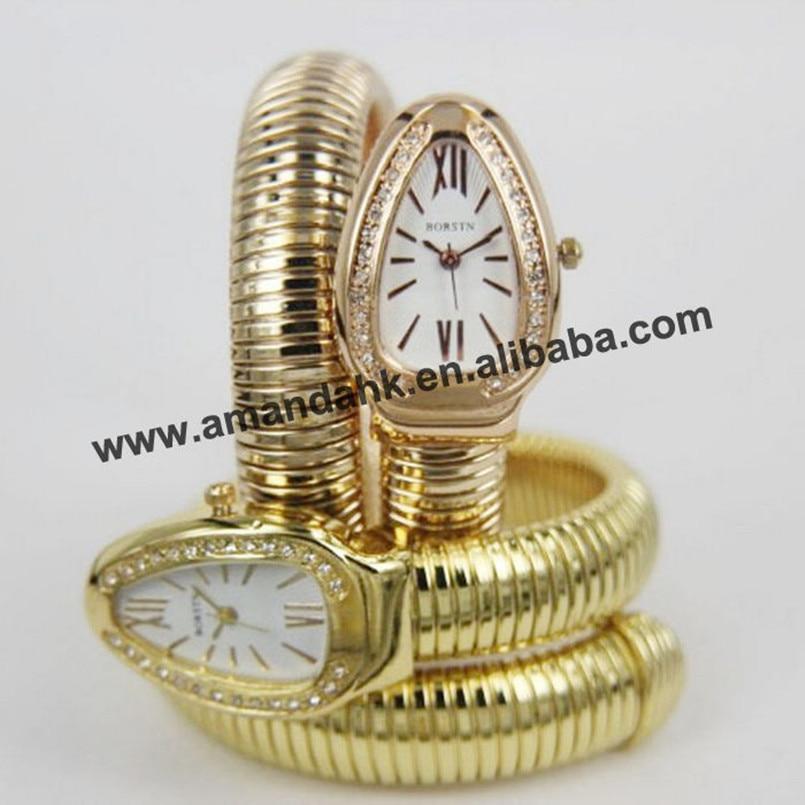 Bangle Wrist-Watch Snake Around Quartz Women's 50pcs/Lot Dress Spirally Roman-Style Casual
