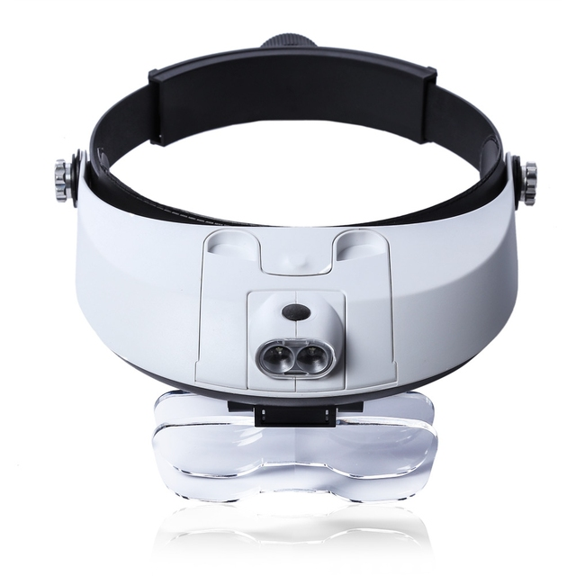 Adjustable Headband 5Lens Binoculars Magnifier 2LED Jewelry Repair Reading Magnifying Glass Third Hand Loupe PMMA Optical Lens