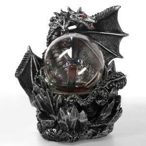 Medieval Dragon Resin Statue Dark Dragons Guardian Touch Responsive Electric Plasma Gazing Ball Gothic Lighting Halloween Gift(China)