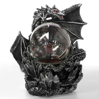 Medieval Dragon Resin Statue Dark Dragons Guardian Touch Responsive Electric Plasma Gazing Ball Gothic Lighting Halloween Gift