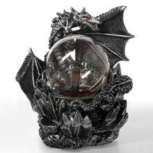 Ortaçağ ejderha reçine heykeli koyu ejderha koruyucu dokunmatik duyarlı elektrik plazma bakan topu gotik aydınlatma cadılar bayramı hediye