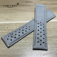 CARLYWET 22mm Newest Real Calf Leather Grey Suede VINTAGE Replacement Comfortable Wrist Watch Band Strap Belt