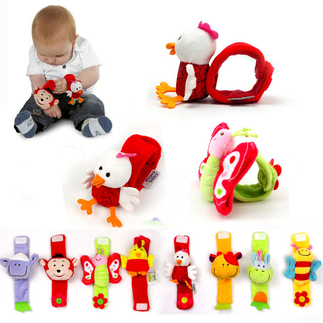 Infant Learning Toy Infant Newborn Baby Wrist Watchs Baby Toy Hand Wrist Strap Soft Animal Baby Rattles Christmas Gift I0044