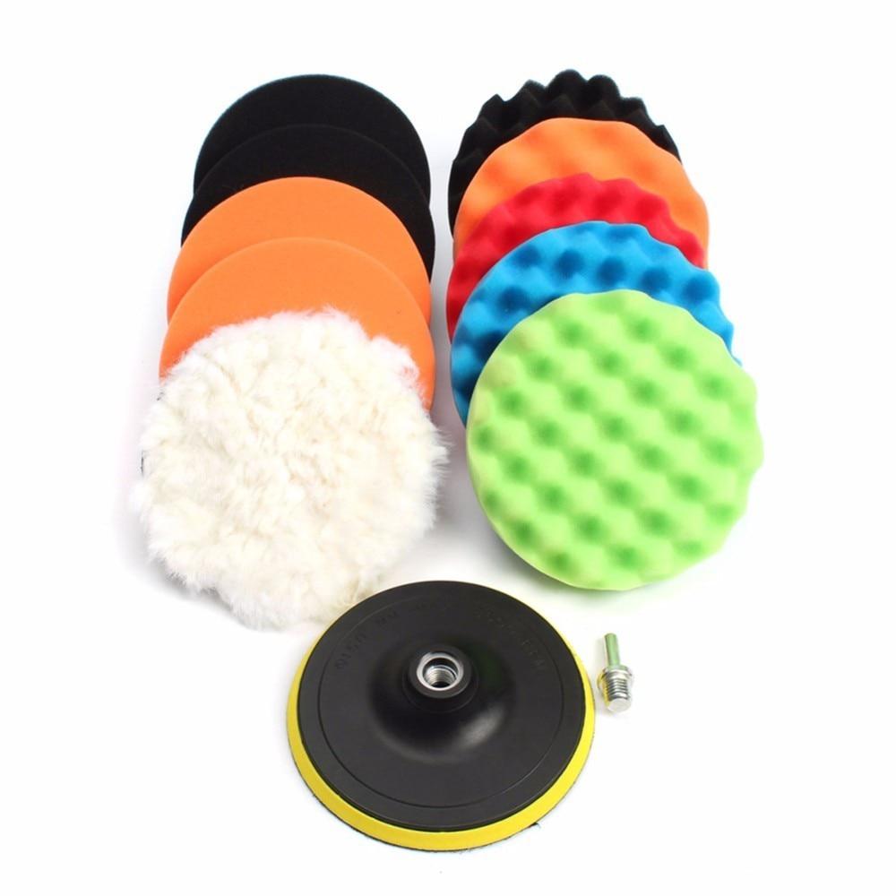 12pcs 3/4/5/6/7inch M14 Thread Self-adhesive Car Polishing Waxing Sponge Auto Wheel Sponge Buffing Pads Kit Set Auto car cleaner