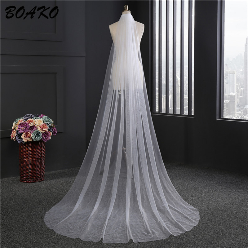 BOAKO 2 Meters White Ivory Cathedral Wedding Veils Long One Layer Bridal Veil with Comb Voile Mariage Cheap Wedding Accessories