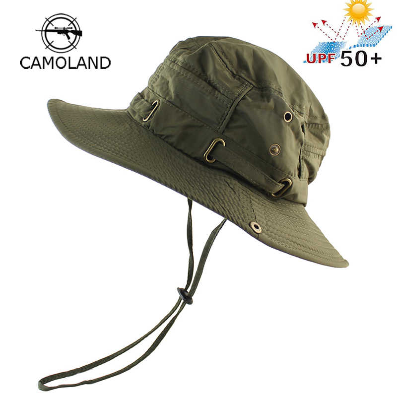40dc4db4f24 UPF 50+ Beach Cap Bucket Hat Men Women Boonie Hat Summer UV Protection Military  Army