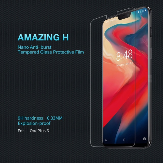 newest a65f8 e4d12 US $8.99 10% OFF|Oneplus 6 safety glass One plus 6 protective film NILLKIN  Amazing H Anti Explosion transparent clear Tempered glass-in Phone Screen  ...