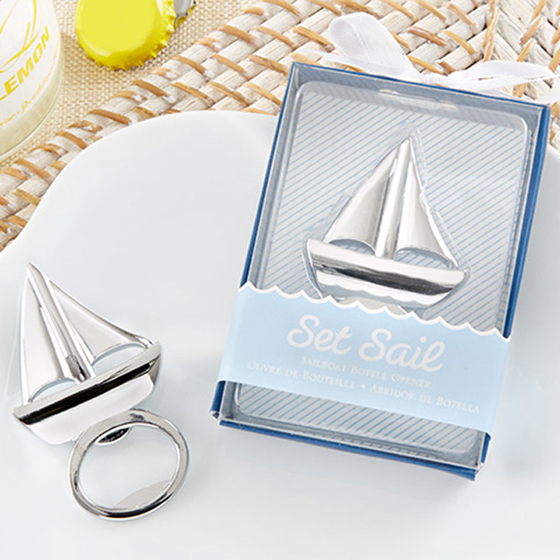 20pcs lot NEW ARRIVAL Beach Themed Event Supplies Set Sail Sailboat Bottle Opener Wine Opener Wedding