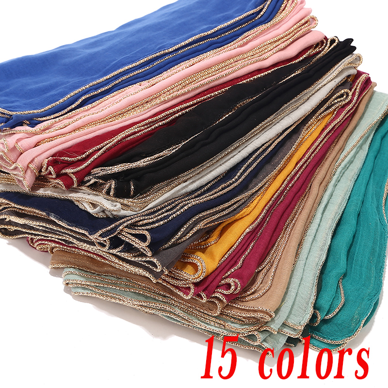 Large Plain Maxi Scarf With Golden Piping Viscose Hijab Wrap Buy 5 Get 1 Free