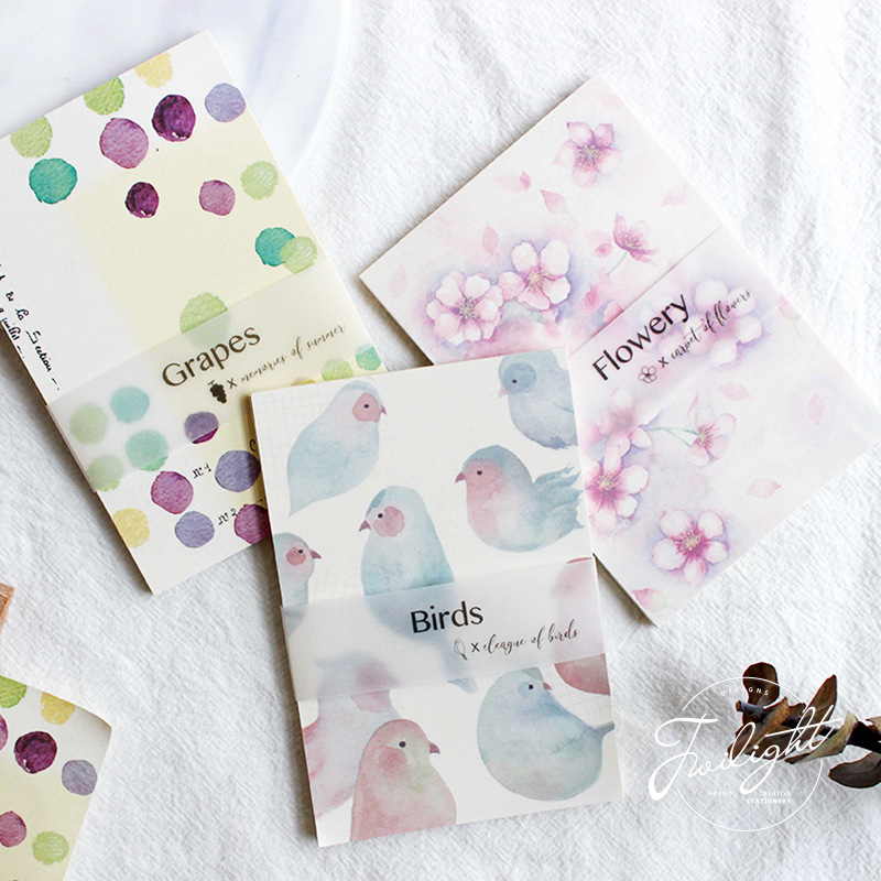 30 Sheets /Pack Fresh Flowery Birds Grapes Sticky Notes Memo Pad School Office Suply Student Stationery Notepad