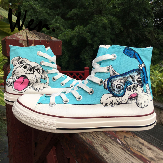 ed3dd2c78d10 Wen High Top Hand Painted Shoes Cute Pug Dog with Diving Goggle Swimming  Pool Played Design