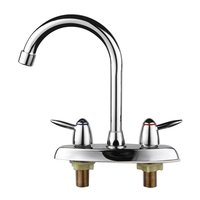 Copper Chrome Polish Hot Cold Water Kitchen Water Faucet Tap Double Handle Hole Bathroom Sink Basin