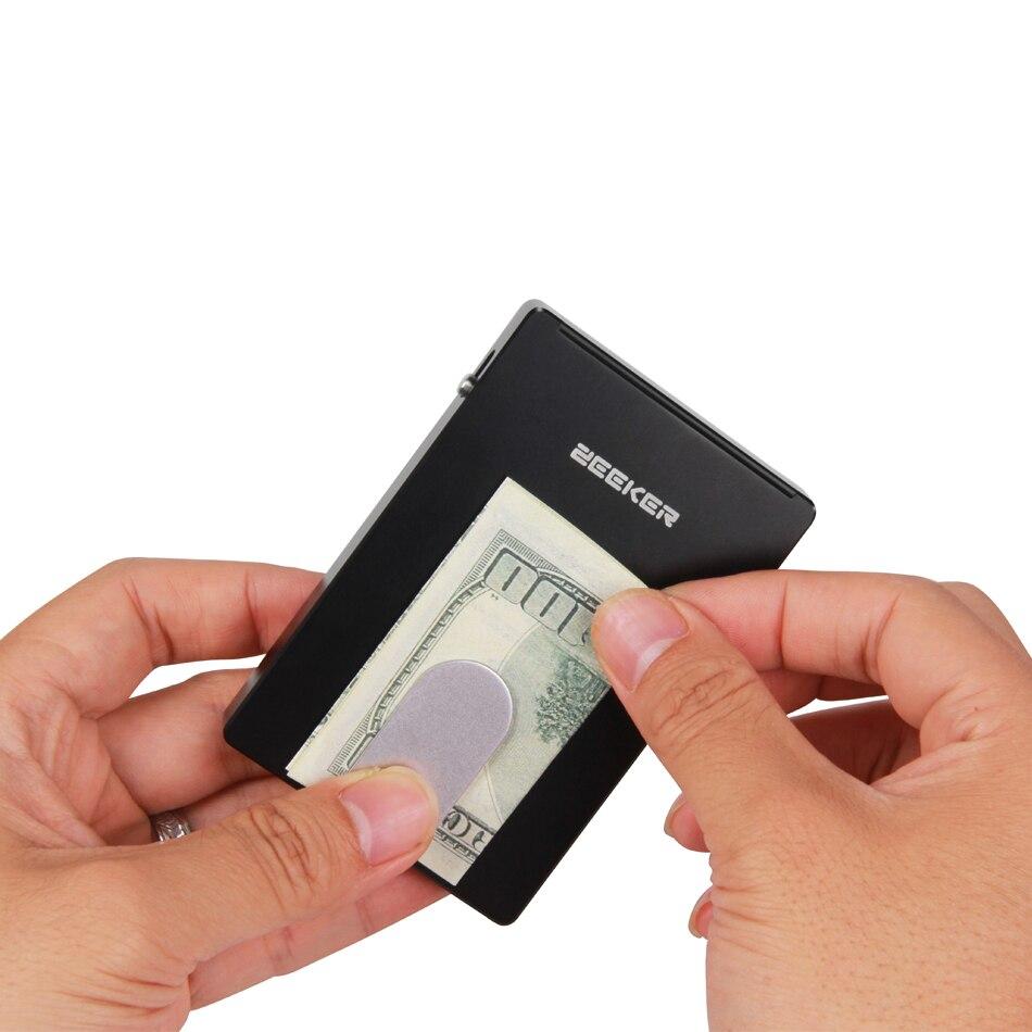 ZEEKER mannen Business Credit Card Wallet Met Onzichtbare C Nieuwe Metalen RFID Blocking Kaarthouder - 3