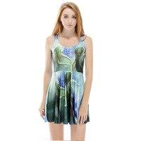 Envío de la gota sirena en el mar 3D Galaxy digital pintado mujeres estilo verano vestido mujeres sin mangas Vestidos vestido