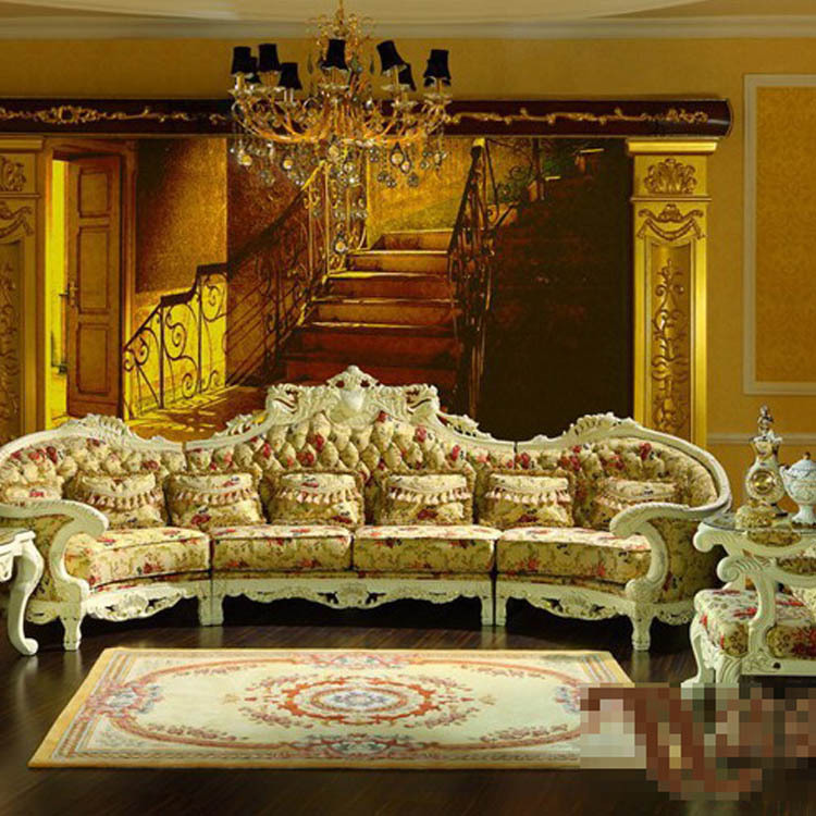 Palace luxury furniture european classical solid wood sofa for Upscale living room furniture