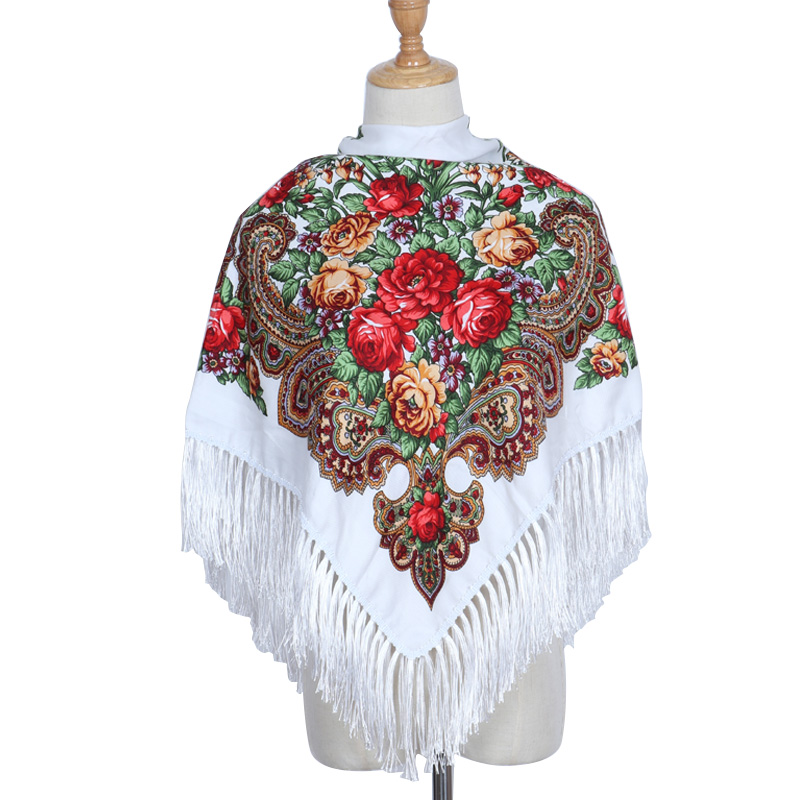Hot Sale Fashion Russian Big Size Square Scarf Winter Printe Cotton Long Tassel Flotral Shawls Women Spring Winter Pashmina Cape