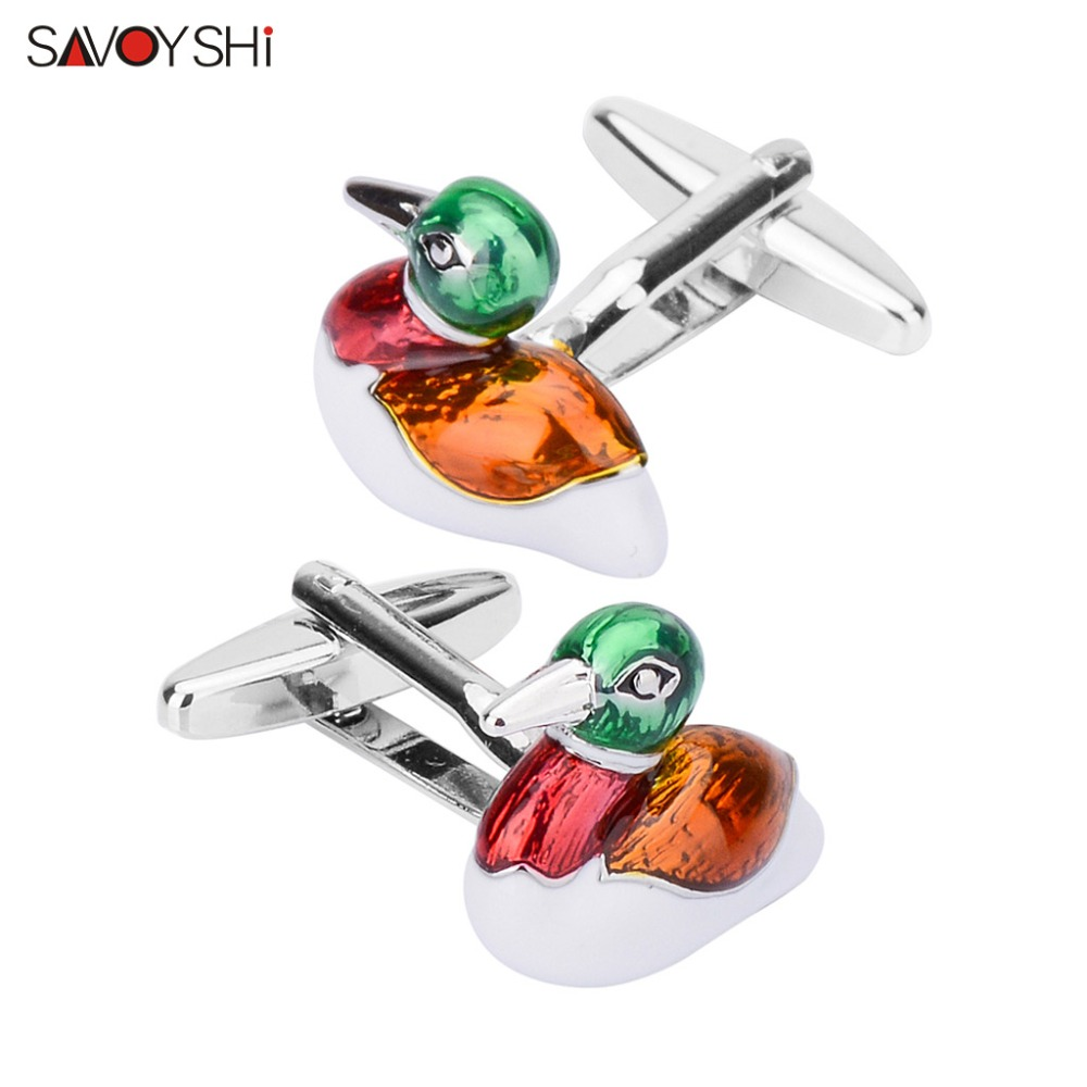 SAVOYSHI Mandarin Duck Love Cufflinks For Men Shirt Cuffs High Quality Enamel Cuff Links DIY Wedding Grooms Gift Male Jewelry